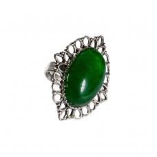 Кольцо с зеленым бразильским агатом