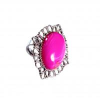 Кольцо с розовым бразильским агатом